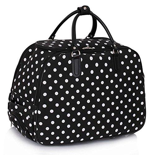 ladies-travel-holdall-bags-hand-luggage-womens-polka-dot-weekend-wheeled-trolley-handbag-black-polka