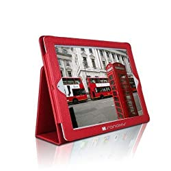 SANOXY Slim FOLIO Folder PU Leather Stand Case for iPad 2/3/4 /ipad 2nd Generation (RED FOLIO)