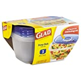Glad GladWare Deep Dish Food Container w/Lid, 64 oz, Plastic, Clear, 18/Carton