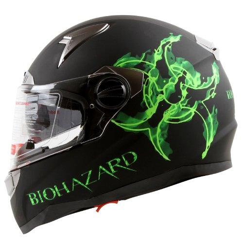 Bio-hazard Matte Black Dual Visor Full Face Motorcycle Helmet DOT (L)