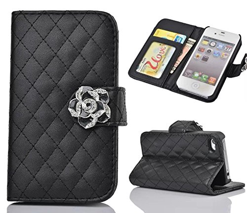 iphone 5 Case,iphone 5S Case, Welity Black Color Camellia Soft Leather Grid Crystal Pu Leather Wallet Case for Apple iPhone 5/5S/5G and one gift
