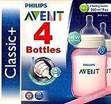 4�x Philips Avent 260�ml Classic/255�biberones antic�licos de color rosa, cuello ancho y forma ergon�mica + libre de BPA