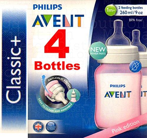 philips-avent-classic-4-biberones-de-260-ml-anticolicos-cuello-ancho-y-forma-ergonomica-sin-bpa-colo