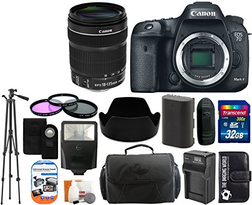 Canon Eos 7D Mark Ii 20.2Mp Cmos Digital Slr Camera Body With 18-135Mm Is Stm Lens + 32Gb Card + Case + Tripod + Spare Battery And Charger + Flash + Lens Hood + Digital Camera Accessory Bundle