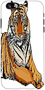 Snoogg sketch of white tiger vector illustration Hard Back Case Cover Shield For Apple Iphone 6 S / 6s