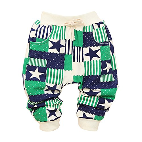 Little Hand Baby Boys' Star Stripe Splicing Color Block Knit Pants Trousers front-1070053