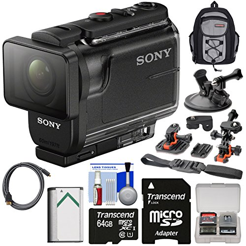 Sony Action Cam HDR-AS50 Wi-Fi HD Video Camera Camcorder with 64GB Card + Battery + Backpack + 2 Helmet & Suction Cup Mounts + Kit