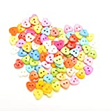 Generic Random Color 100Pcs Heart Pattern 10mm DIY Buttons Sewing Clothes Button