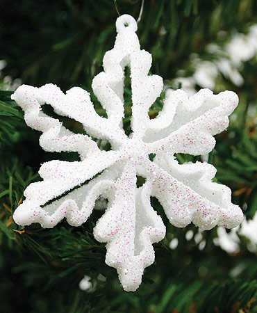 144 -2&quot; White Glitter Snowflake Dimensional Ornament For Winter Wedding Favors or Ornaments