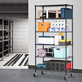 LANGRIA 6 Tier Wire Shelving Garage Shelving Storage Rack Metal Shelves, Heavy Duty Commercial Metal Wire Shelving Unit Black