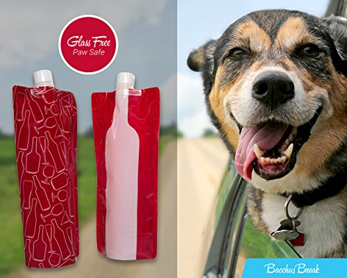 Bacchus Break Foldable Wine Bag 2 Go - Portable Bottle, Flexible, Collapsible flask, Reusable and Leak-proof Pouch - great gift