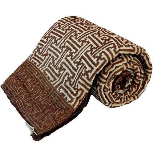 Little India algodón diseño Floral bloque de mano de funda de edredón para cama individual marrón