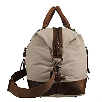 Polare Large Modern Sports Canvas Real Leather Travelling Gym Bag Weekend Bag 2