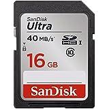Carte mémoire SDHC SanDisk Ultra 16Go Classe 10   UHS-I avec une vitesse de lecture allant jusqu'à 40Mo/s (SDSDUN-016G-FFP)