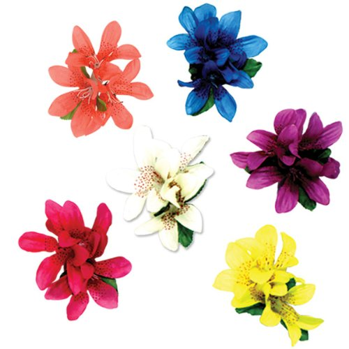 Tiger Lily Hair Clips (asstd colors) Party Accessory  (1 count) (1/Pkg)