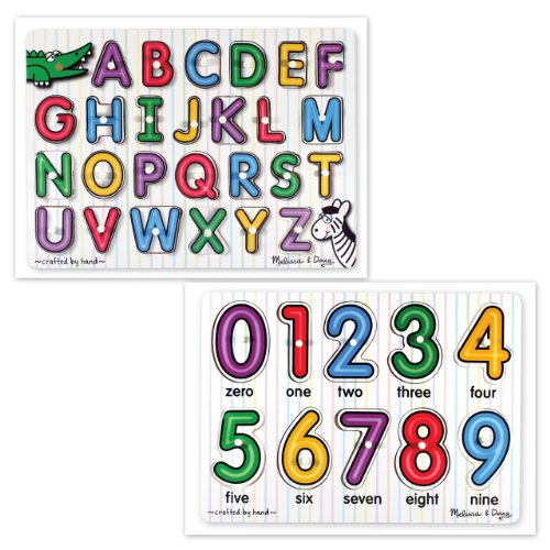 Picture of Bundles of Fun Melissa & Doug See-Inside Alphabet and See-Inside Numbers Puzzles Bundle of 2 Items with **BONUS** by Bundles of Fun (B005P00F1Y) (Pegged Puzzles)