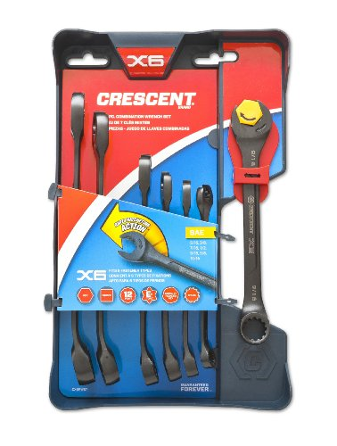 Crescent CX6RWS7 Combination Wrench Set with Ratcheting Open-End and Static Box-End, 7-Piece (Metric Sae Open End Wrench compare prices)