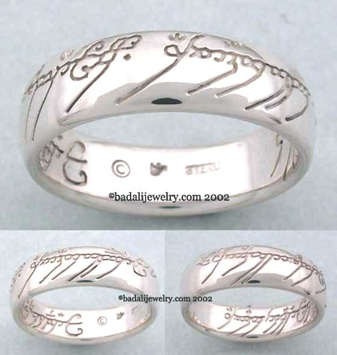 Sterling Silver The One Ring TM with Plain Script-Lord of the Rings