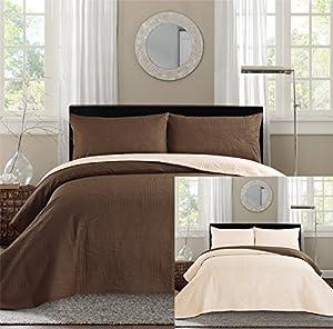 New Queen / Full Bed Luxury 3-piece Coffee Brown / Beige Reversible Bedspread Coverlet set Solid Embossed Bedding