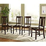 WE Furniture Wood Dining Chairs (Set of 4), Cappuccino