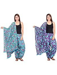 Rama Set Of 2 Floral Print Purple & Sky Blue Colour Cotton Full Patiala With Dupatta Set