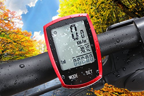 Wireless Bicycle computer Arova Waterproof Bike Speedometer Odometer LCD Backlight Displays-22 Function Bicycle Cyclocomputer: Track Cycling Distance, Speed, Calories-Red (Distance Timer compare prices)