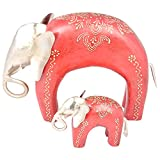 Rajgharana Handicrafts Multi Color Wood And Metal Elephant Statue With Baby (Set Of 2) - (30 Cm X 22 Cm)