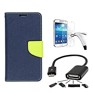 DENICELL Mercury Flip Cover (Combo Offer) For Samsung Galaxy Note 1 (BLUE+ TEMP+OTG)