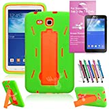 EpicGadget(TM) For Samsung Tablet Galaxy Tab 3 Lite 7.0 Case Green and Green Shockproof Heavy Duty Rugged Impact Hybrid Case with Build In i Kickstand Protective Cover [Dose NOT Fit Galaxy Tab 3 7.0] With Galaxy Tab 3 Lite SM-T111 SM-T110 Clear Screen Protector And Universal Long Touch Stylus Pen (US Seller!!) (I Stand Green Orange)