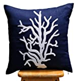 Coral Pillow Cover, Decorative Pillow, Throw PIllow, Navy Blue Linen Pillow, White Coral, Embroidered, Pillow Case, Cushion Cover (26 inch x 26 inch)