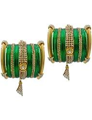 Green Bridal Chura Jhumka Wedding Bangles Chuda By My Design(size-2.4)