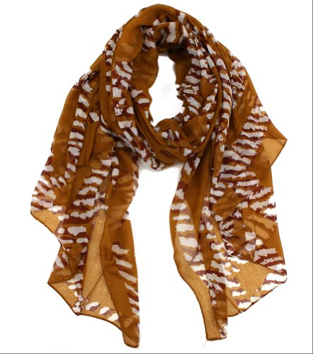 Plum Feathers Animal Accent Grid Pattern Lightweight Scarf (Brown)