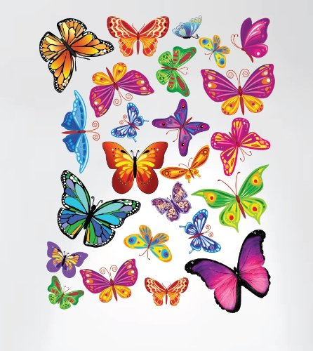 Innovative Stencils 3005 Easy Peel and Stick Colorful Butterflies Nursery Decal Instant Home Decor Wall Sticker - 1