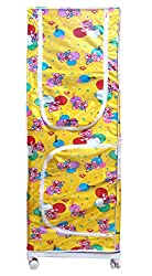 Kotak Sales Multipurpose 5.2ft Elders, Younger Kids Baby Infant Child Cartoon Printed Wardrobe Moving Folding Almirah Shirt Saree Hanger Organizer 3 Shelves Rolling 62Inch Size For Cloths, Shoes, Books, Etc