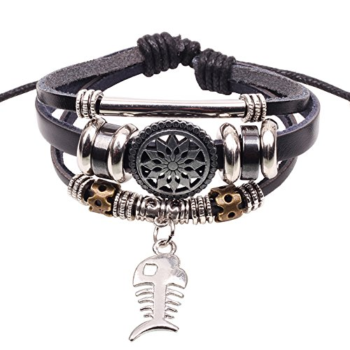 winters-secret-fishbone-alloy-pendant-beads-silver-tone-tube-black-leather-unisex-wrap-bracelet