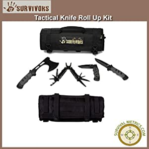 Tactical Survival Tool Kit: Fixed Blade Folding Blade Hand Axe Multitool by OEM