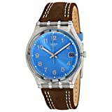 Swatch Blue Choco Blue Dial Clear Plastic Black Leather Quartz Men's Watch GM415