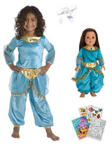 [Little Adventure Blue Jasmine Princess Dress Size 5-7 w/Doll Dress and Hair Bow] (Middle Eastern Girl Costume)