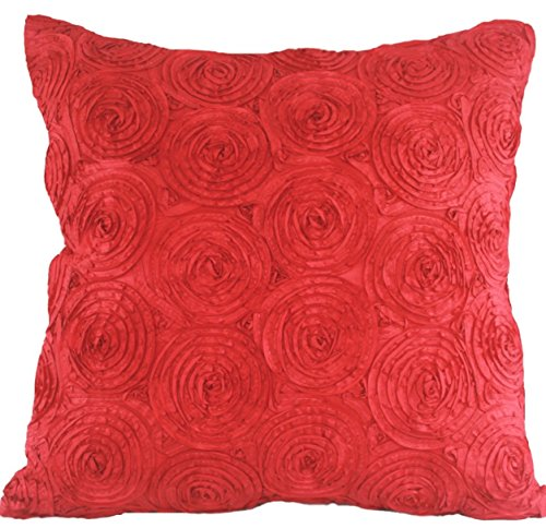 """That's Perfect! Concentric Flowers Decorative Silk Throw Pillow Sham - Fits 16"""" x 16"""" Insert (Bright Red)"""