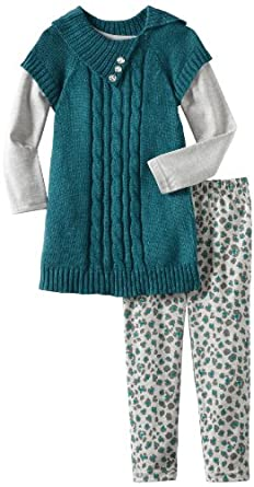 Little Lass Little Girls' 3 Piece Sweater Set With Animal Print Legging, Teal, 4