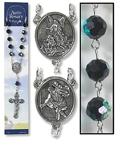 Catholic Church Saint Guardian Angel Black Auto Rosary for Cars Trucks (Crystal Auto Rosary compare prices)