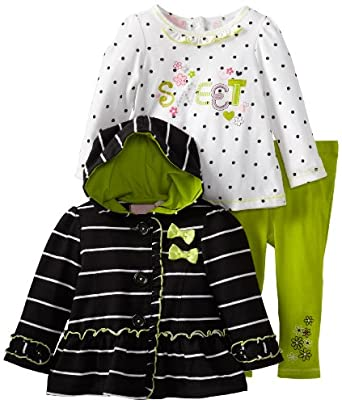 (3 折)Kids Headquarters Stripes Hooded Black女婴帽衫+长袖+长裤$14.99