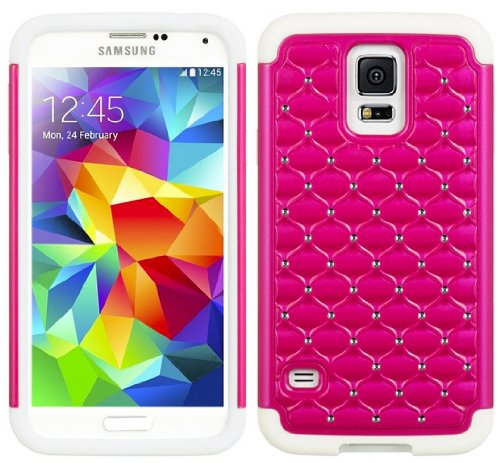 Mylife (Tm) White And Hot Pink - Diamond Shell Series (2 Layer Neo Hybrid) Slim Armor Case For The New Galaxy S5 (5G) Smartphone By Samsung (External Rubberized Hard Shell Flex Piece + Internal Soft Silicone Flexible Bumper Gel)