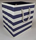 Medium sized, folding storage bag for laundry or toys. Fully lined in Navy blue with white stripes design