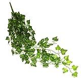 (H&T-Style) アイビー 造花 人工観葉植物 インテリア グリーン 壁掛け ディスプレイ (2本セット)