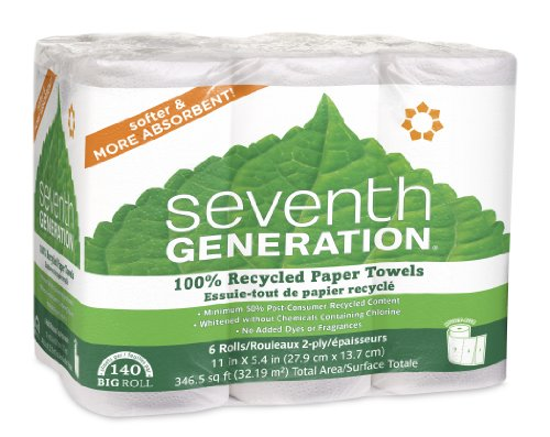 Seventh Generation White Paper Towels, 2-ply, 140-sheet Rolls, 6-Count (Pack of 4)