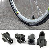 Black Rocket Shape Schrader Valve Wheel Cap For Motorcycles Bicycles Brand New