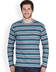 Hypernation Blue And Black Color Full Sleeves Stripped T-Shirts For Men
