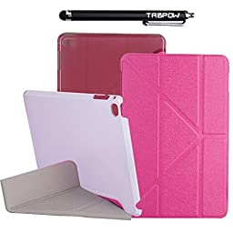 iPad Mini 4 Case, TabPow Origami Stand Series - [Flip][Magnetic Closure] PU Leather Case Smart Cover With Clear Back Case [Auto Sleep/Wake] For Apple iPad Mini 4 (2015 Edition) (Hot Pink)