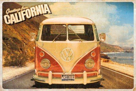 poster: Cars poster-carte postale, California VW Camper (91x 61cm)